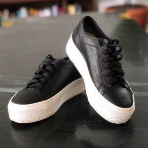 Loeffler Randal Black Leather Platform Sneakers